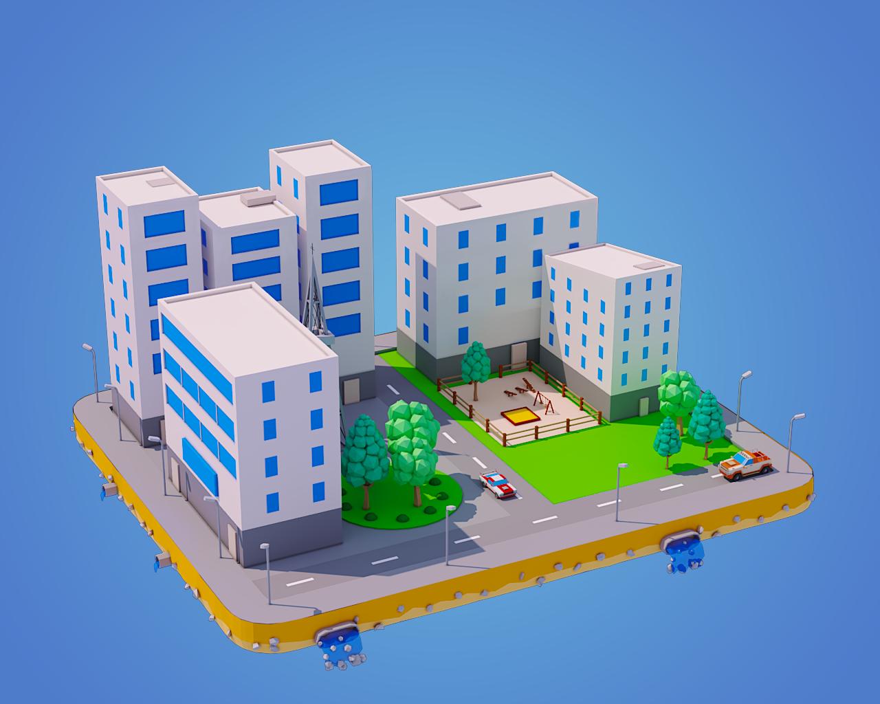 Low Poly City Block