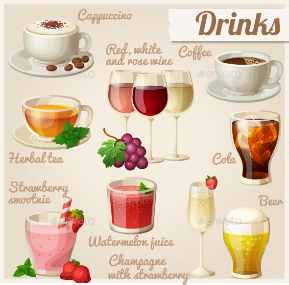 Set of Food Icons. Drinks. - Food Objects