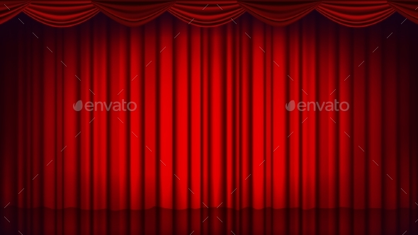 Red Theater Curtain Vector. Theater, Opera Or - Miscellaneous Vectors