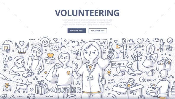 Volunteering Doodle Concept - Conceptual Vectors