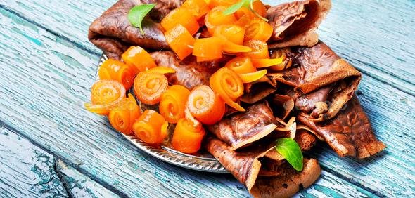 Pancakes with orange jam - Stock Photo - Images