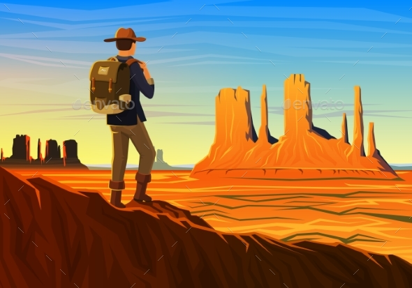 Mountain and Monument Valley with Tourist, Morning - Landscapes Nature