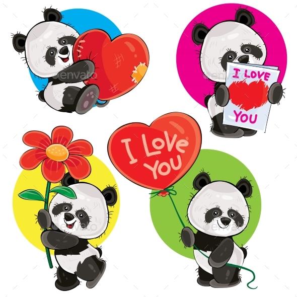 Valentine Day Vector Set with Panda Bears - Valentines Seasons/Holidays