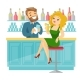 Caucasian White Woman Sitting at the Bar Counter. - GraphicRiver Item for Sale