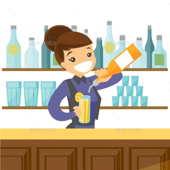 Bartender Making a Cocktail - People Characters