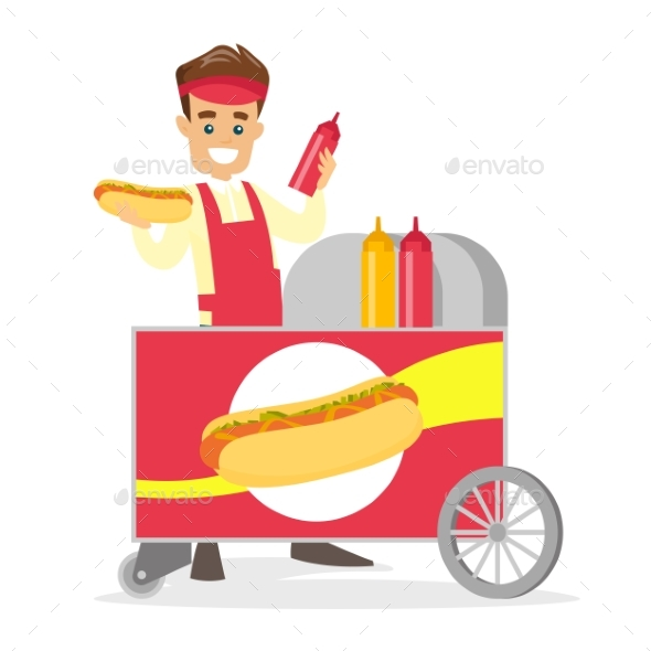 Street Seller Making a Hot Dog - People Characters