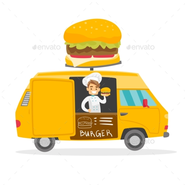 Street Seller Selling Burgers - People Characters