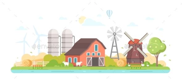 Agriculture - Modern Flat Design Style Vector - Buildings Objects
