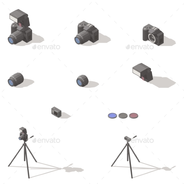 Photo and Video Equipment Isometric Low Poly Icon - Miscellaneous Vectors