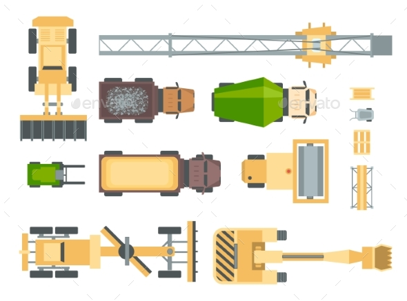 Construction Machines - Set of Modern Vector - Objects Vectors