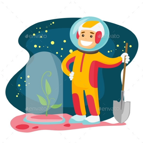 Astronaut Planting Tree on a New Planet - People Characters