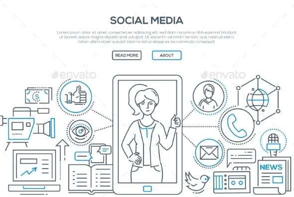 Social Media - Modern Line Design Style - Web Technology