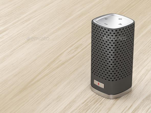 Black smart speaker - Stock Photo - Images