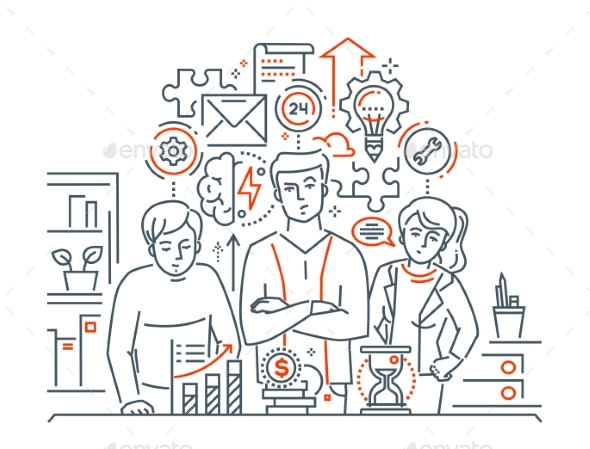 Team Work - Modern Line Design Style Illustration - Concepts Business