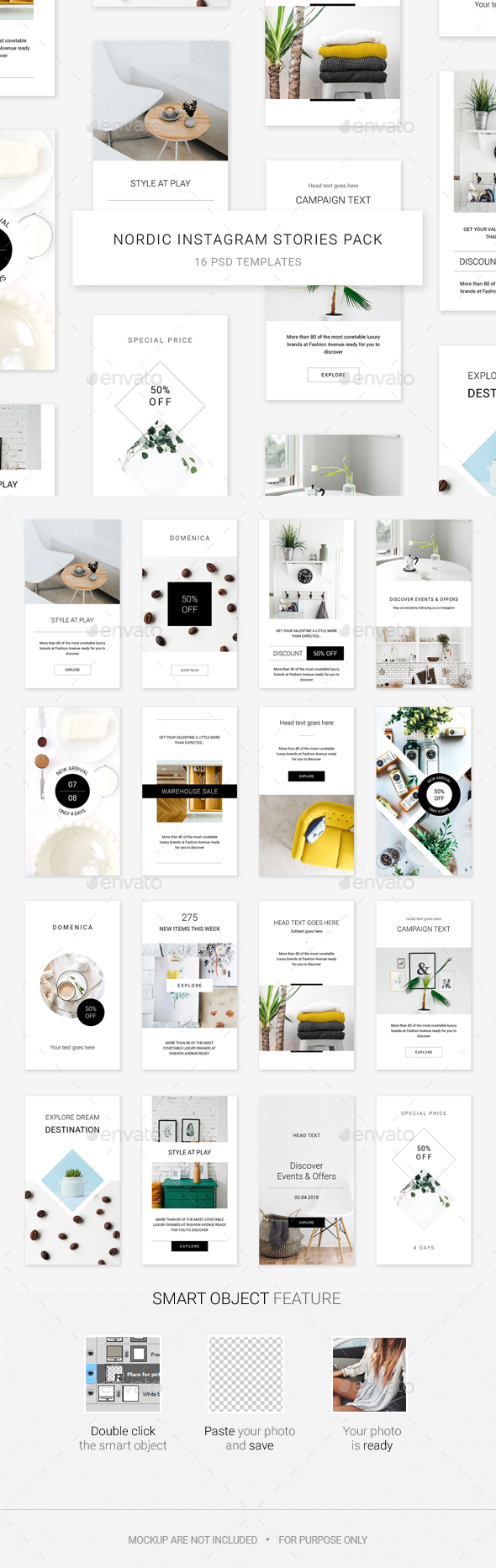 Nordic Instagram Stories Pack - Social Media Web Elements