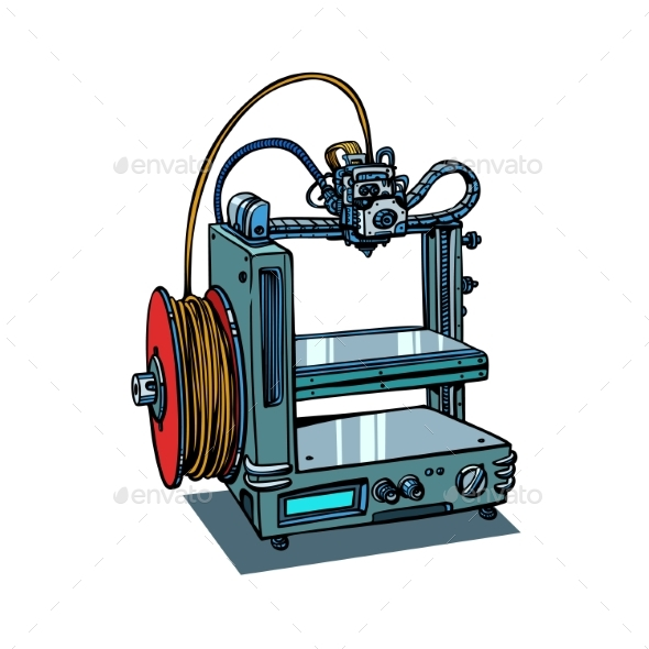 3D Printer Manufacturing Isolated on White - Computers Technology