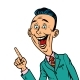 Enthusiastic Joyful Businessman Points Finger