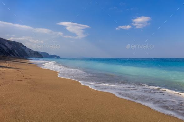 Gialos beach. Lefkada, Greece - Stock Photo - Images