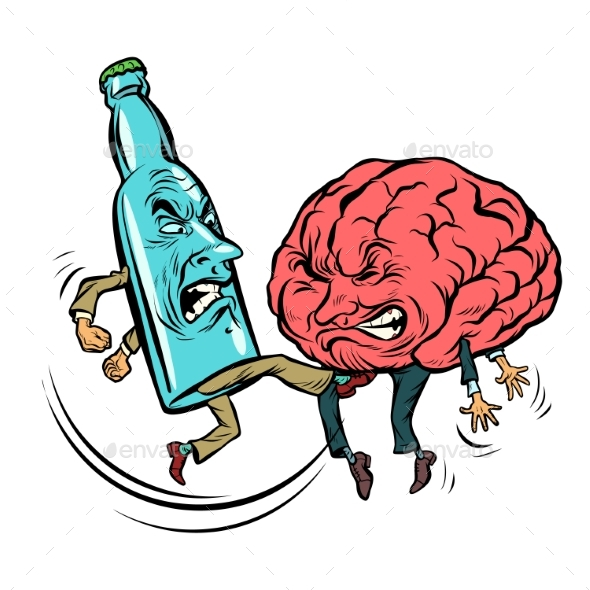 Alcoholism Destroys the Brain - Health/Medicine Conceptual