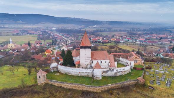 Hosman fortified church in Transylvania, Romania - Stock Photo - Images