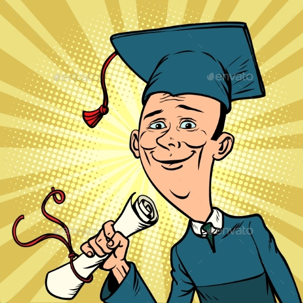 Male Graduate From University or College - Miscellaneous Vectors
