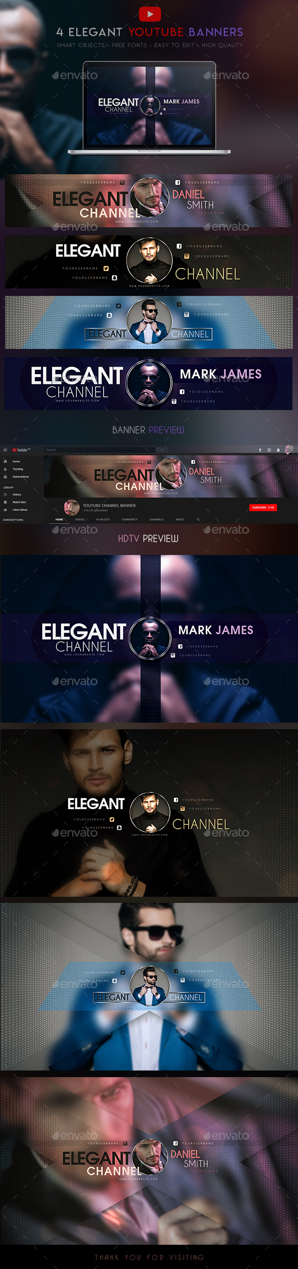 4 Elegant YouTube Banners - YouTube Social Media
