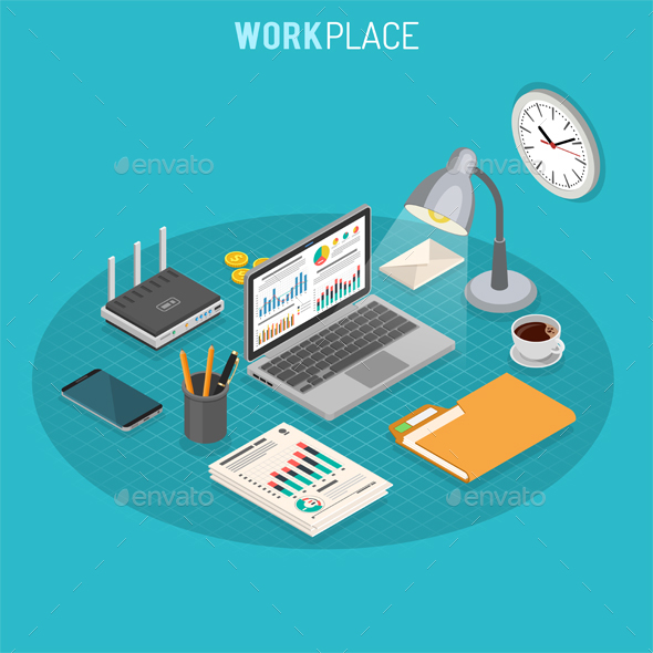 Workplace Isometric Concept - Concepts Business