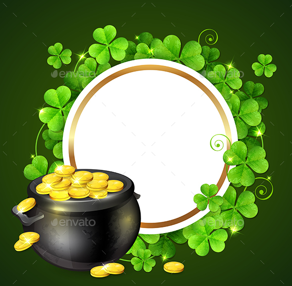 Pot of Gold and Green Clover Leaves - Miscellaneous Seasons/Holidays