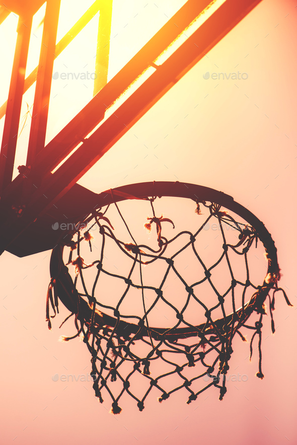 Basketball hoop on amateur outdoor basketball court Stock Photo by stevanovicigor
