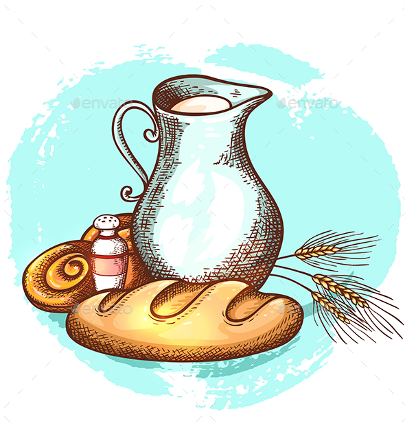Jug of Milk and Fresh Bread - Food Objects