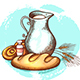 Jug of Milk and Fresh Bread - GraphicRiver Item for Sale