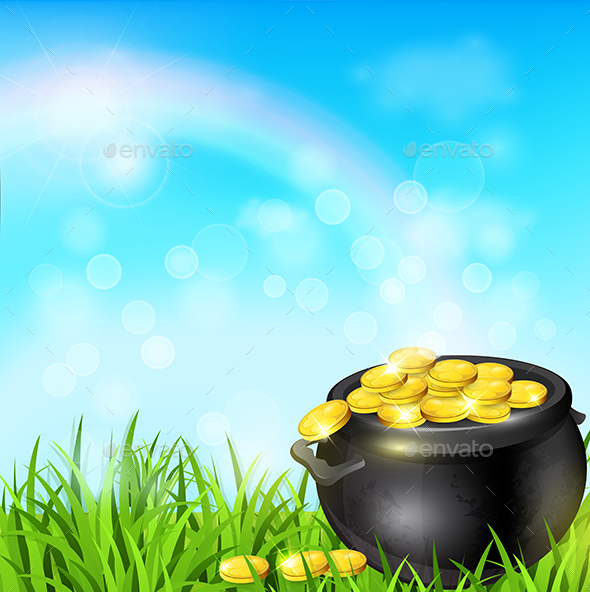 Pot of Gold in a Green Grass - Miscellaneous Seasons/Holidays