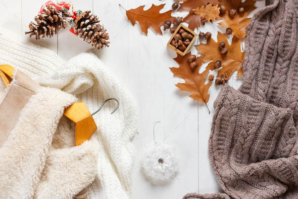 Woman winter clothes collage on white, flat lay, top view - Stock Photo - Images