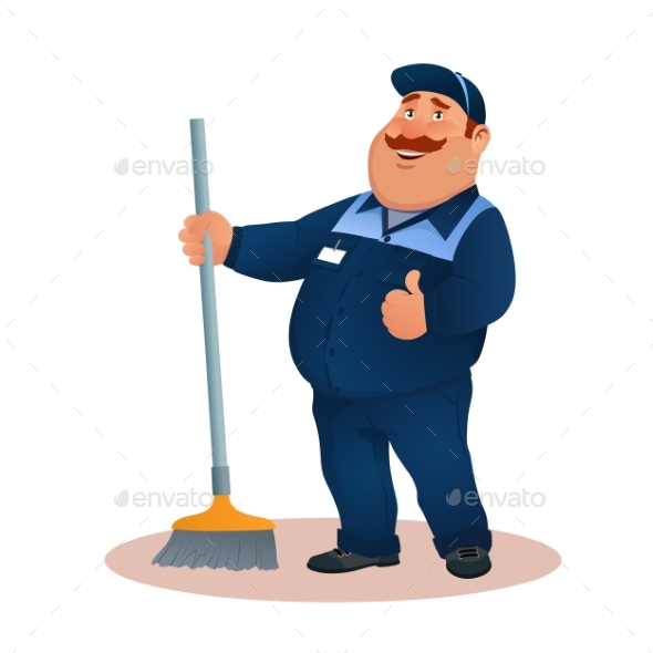 Cartoon Janitor with Mop. Smiling Fat Man. - People Characters