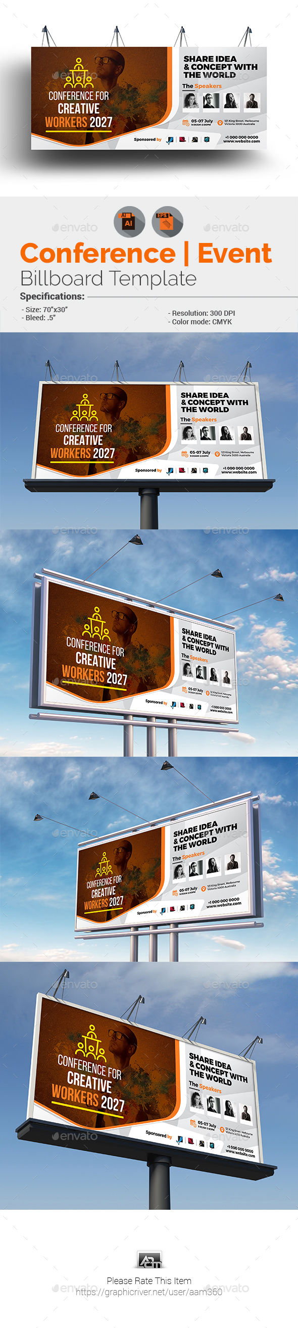 Conference / Event Billboard Template - Signage Print Templates