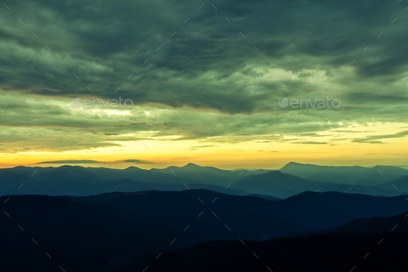 Picturesque summer landscape with colorful sunrise - Stock Photo - Images