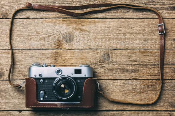 Old vintage film photo camera - Stock Photo - Images
