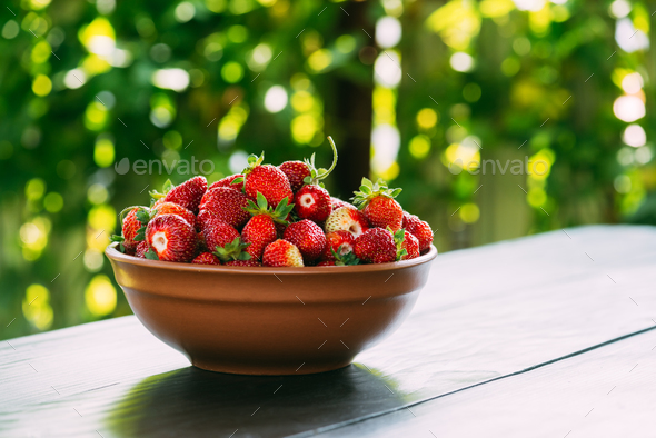 Strawberry in plate closeup - Stock Photo - Images