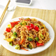 Plate of noodles with meat and vegetables - PhotoDune Item for Sale