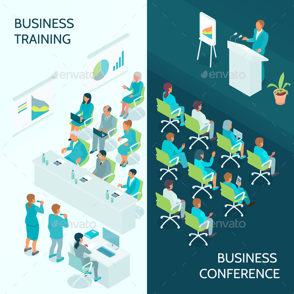 Business Education Isometric Banners - Business Conceptual