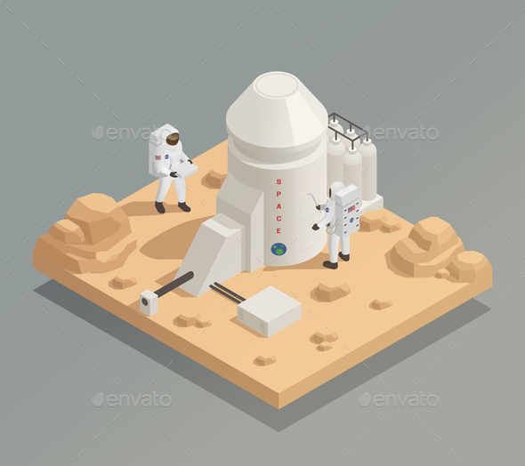 Astronauts on Planet Isometric Composition - Communications Technology