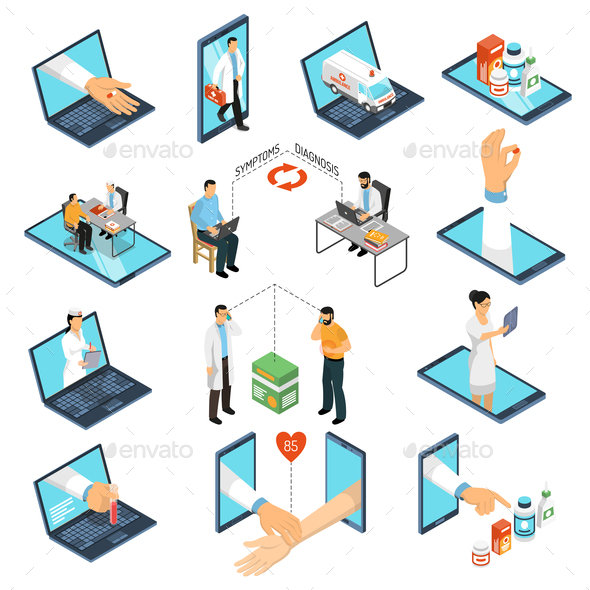 Online Medicine Doctor Isometric Set - Health/Medicine Conceptual