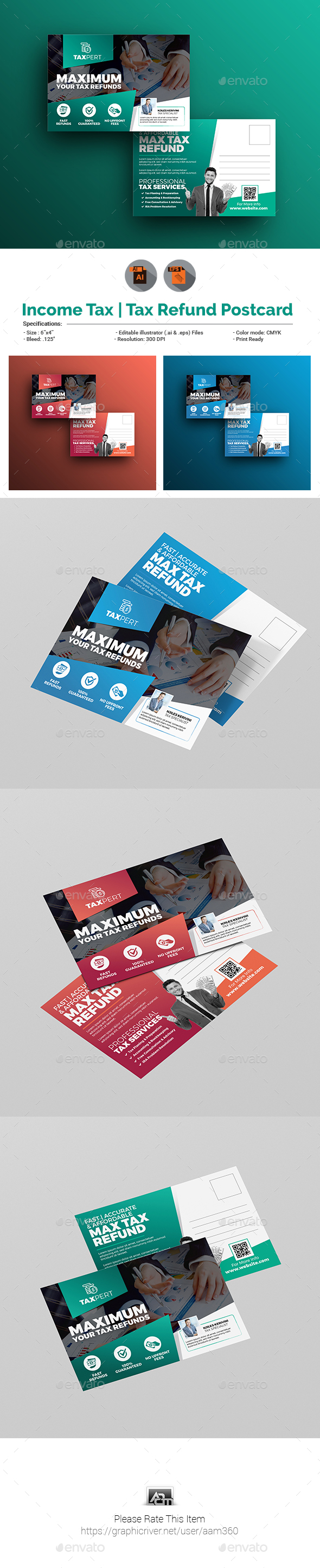 Income Tax / Tax Refund Postcard Template by aam360 | GraphicRiver