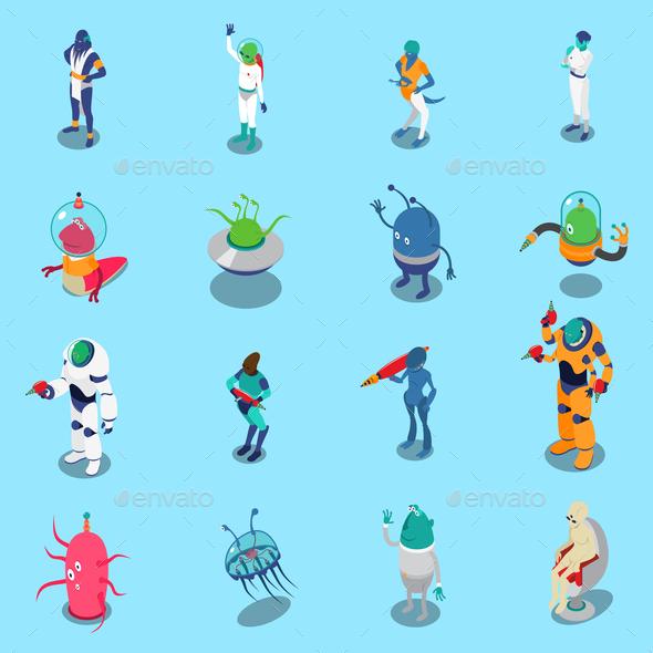 Aliens Isometric Icons Set - Miscellaneous Vectors