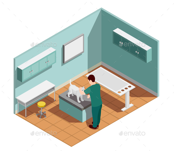 Vet Clinic Isometric Composition - Animals Characters