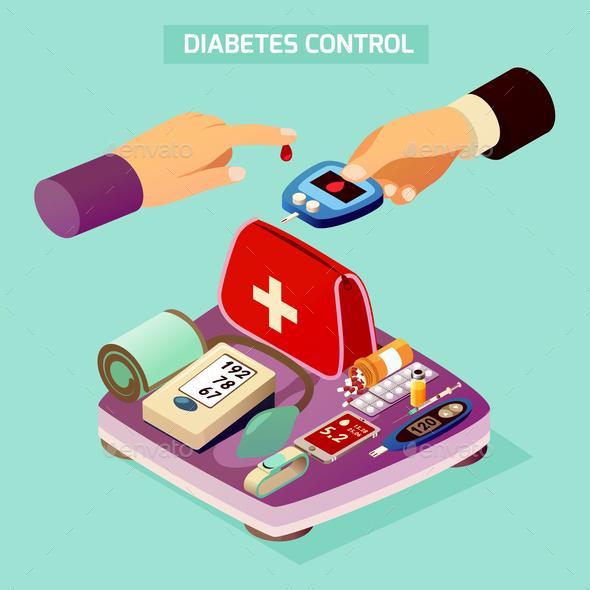 Diabetes Control Isometric Composition - Health/Medicine Conceptual