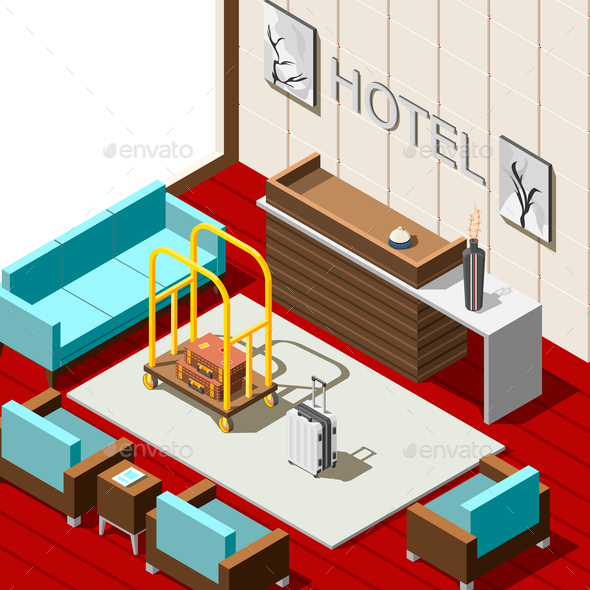 Hotel Reception Isometric Background - Travel Conceptual