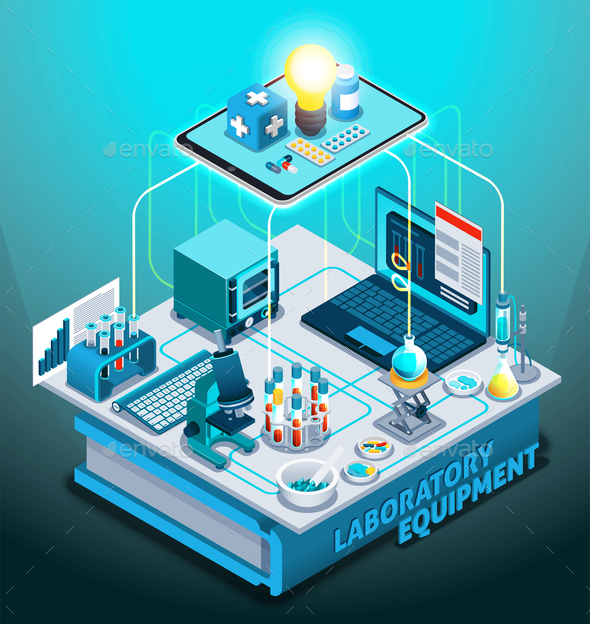 Laboratory Equipment Isometric Composition - Health/Medicine Conceptual