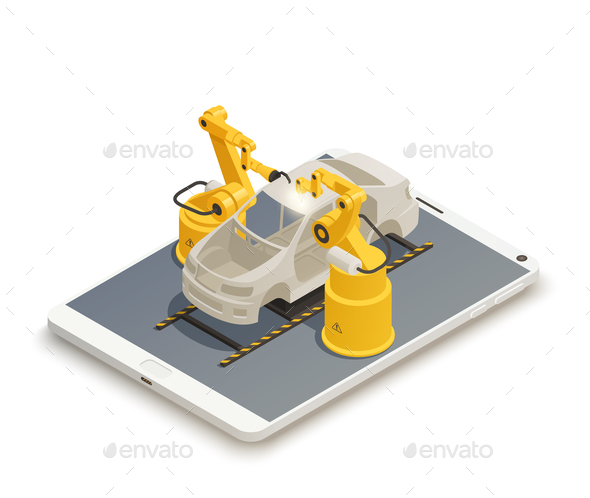 Smart Industry Manufacturing Isometric Composition - Industries Business