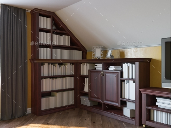 3D Illustration of a Home Library on the Attic - 3D Renders Graphics